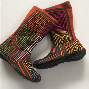 Shoes - Mola Boots Colombia shoes size 8 handmade art